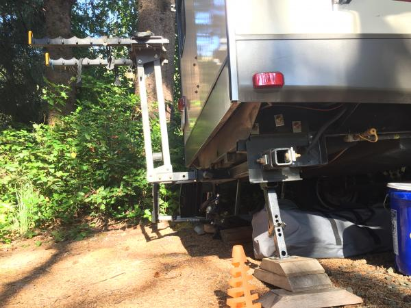 Curt receiver bolted to trailer main frame