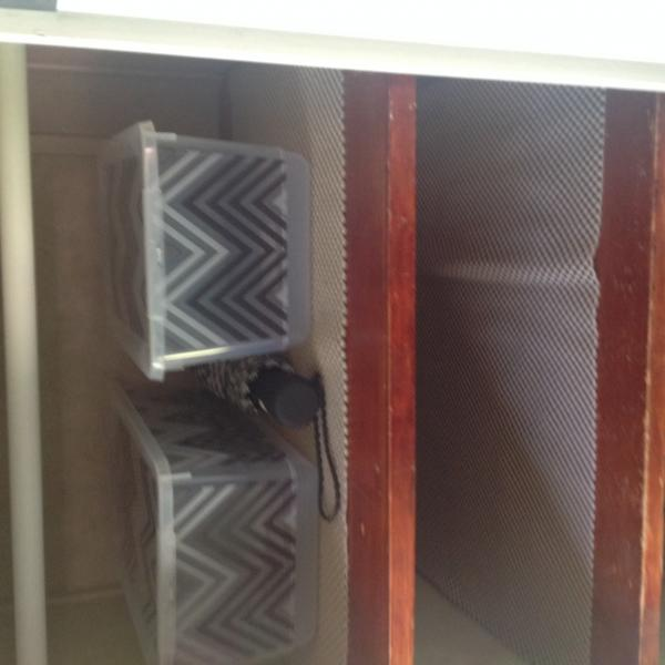 """DH put shelves in closet under tv.  Put shelve liners on to keep things in place.  Baskets for """" unmentionable """" ideas.  Got at WalMart on clearance"""