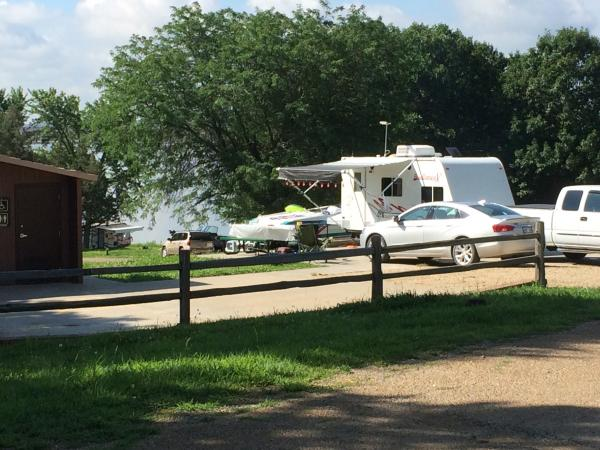 Camping at Lake Perry, Kansas.  Last spot available. Lucky-concrete slab to park on and next to flush toilets!