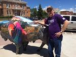 DH, Marty next to buffalo statue in Custer, SD