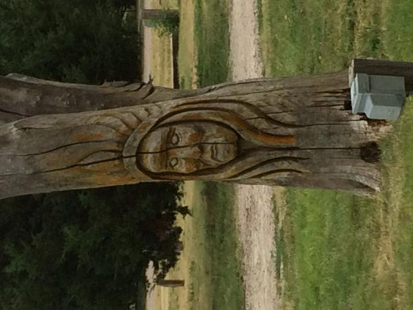 One of these days I'll figure out how to turn pics.  Anyway, stayed at Goodland, Ks KOA-one of the carvings in tree trunks at park.