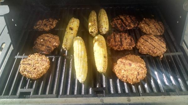 Good Eats for a Vegan Camper - Grilled Vegan Burgers and Corn
