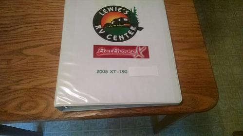 "2008 FF XT-190 Xtra Front of build Manual assembled in a 2"" Binder by author"