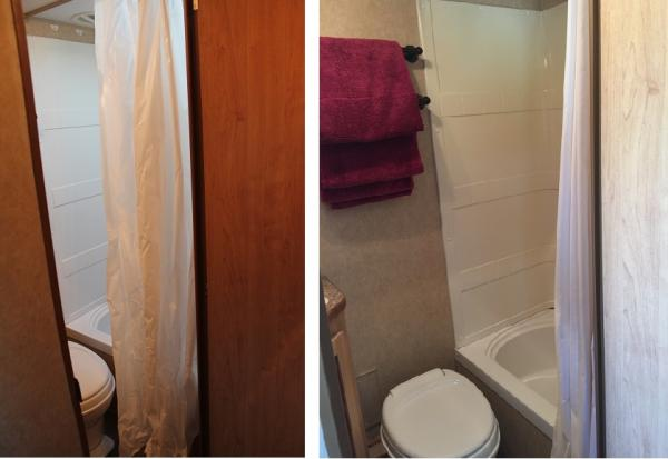 The trailer came with a thin, plastic shower curtain that floated in and wrapped around us when we were showering. I replaced it with a shower curtain I made from a cotton/poly sheet.