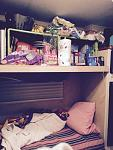upper bunk pantry - when you need food space for growing kids more than sleeping areas in a tiny camper