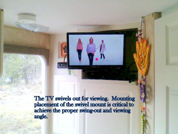 The 19 inch TV, from Wally World, is a perfect fit for the alcove while leaving enough room for a slim DVD player on the alcove below the TV.