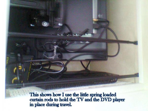 This shows the way I use the spring loaded curtain rods to hold the TV and the DVD player in place while traveling.  The DVD player is sitting on one of those non-slip shelf liners.