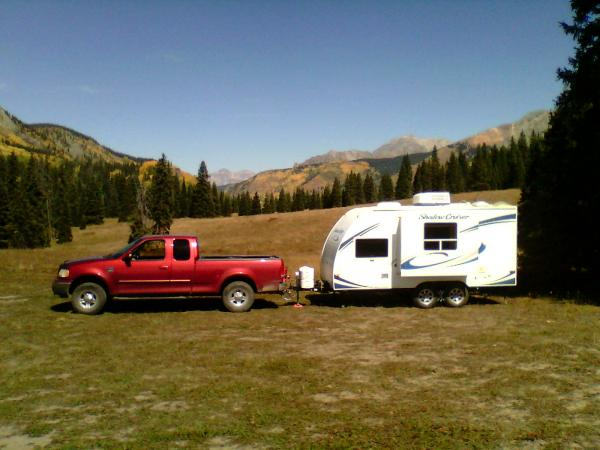 Camper and truck on Lizard head Pass, Colorado, Fall 2015