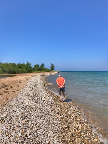 Combing the beach for fossils at Cross Village