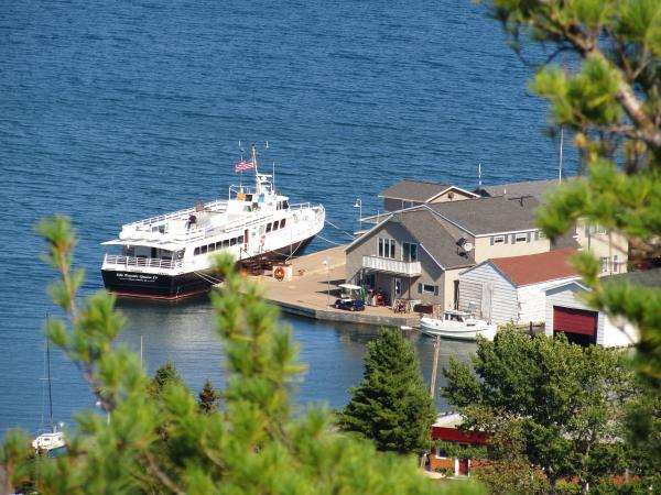 View of the Isle Royale boat in Copper Harbor from Brockway Mountain Drive