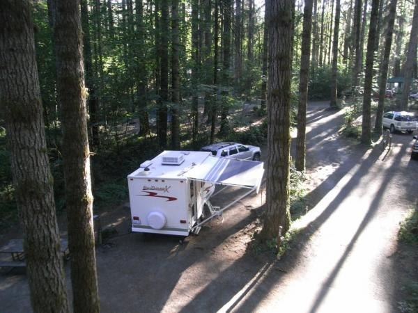 Our second trip, we parked for 3 days at Seaquest State Park near Mt. St. Helens.