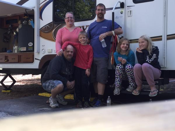 Camping with friends at Greenwood State Park
