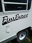 """Found FunFinderX decals on eBay, so picked up three in black and removed the """"X"""". It works."""